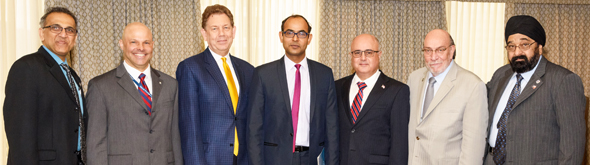 From left: Swapan Dhairyawan, Micheal Hess, Alan Lumsden, Deputy Consul General Surendra Adhana, Rustom Mody, Stephen Igo, and Jagdip Ahluwalia. Photos: Bijay Dixit