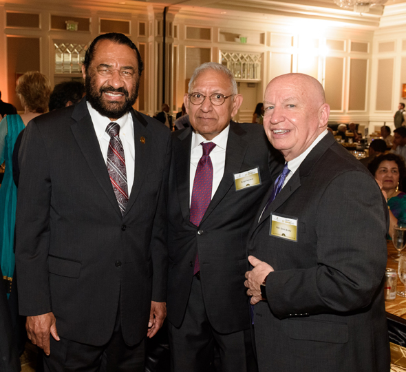 From left: Congressman Al Green, Dr. Durga Agrawal, and Congressman Kevin Brady. Photos: Bijay Dixit