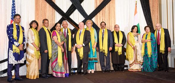 From left: Jugal Malani, Anjali & Hari Agrawal, Sushila & Dr. Durga Agrawal, Congressman Kevin Brady, Angela & Chowdary Yalamanchili, Bal & Rita Sareen, and Nalini & Dr. Virendra Mathur at the 15th Annual India House Gala, on Saturday, March 24 at Sugar Land Marriott Town Square.