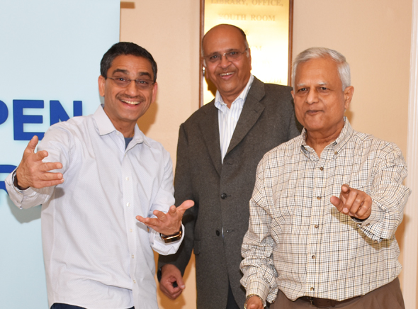 The jolly trio of Open Forum radio show (from left) Subodh Bhuchar, Jagat Kamdar and Dinkar Chedda ham it up outside the reception hall