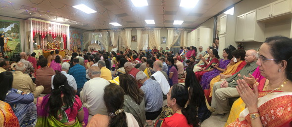 The worship hall of the Shri Sita Ram Foundation during the concluding ceremonies of the Ram-Sita Vivah last Sunday, April 1