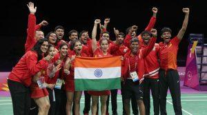 Badminton - Gold Coast 2018 Commonwealth Games - Mixed Team Medal Ceremony - Carrara Sports Arena 2 - Gold Coast, Australia - April 9, 2018. Team India celebrates winning a gold medal. REUTERS/Athit Perawongmetha