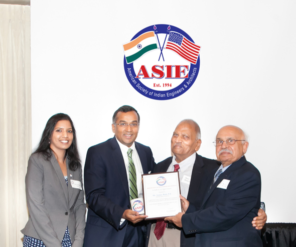 ASIE President Sai Gowthami Asam (left) and past presidents Ved Bansal and Ravi Arora (right) presented Ram with a certificate of appreciation. Photos: Navin Mediwala