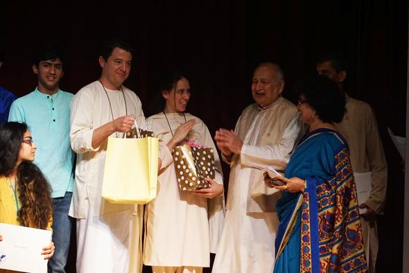 ASGH Graduation Guests:Joseph & Christina Emmett from Vedanta Institute Malibu, with Shri Dev. Mahajan