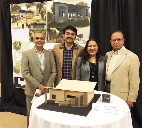 Tanmay with ASIE Members, (from left)- Architect Mahendra Vaishnav, Tanmay Thakker, Architect Bhavana Patel, and Engineer/Architect Dinesh Shah, a past President of ASIE.