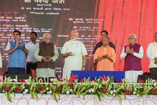 PM Narendra Modi with union transport minister Nitin Gadkari, Uttar Pradesh CM Yogi Adityanath, Haryana CM Manohar Lal Khattar and UP governor Ram Naik inaugurates the 135 km long Eastern Peripheral Expressway at Baghpat in Uttar Pradesh on Sunday.