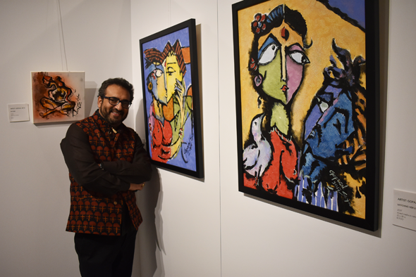 Local painter Gopal Seyn's paintings are on display at the Glade Center.