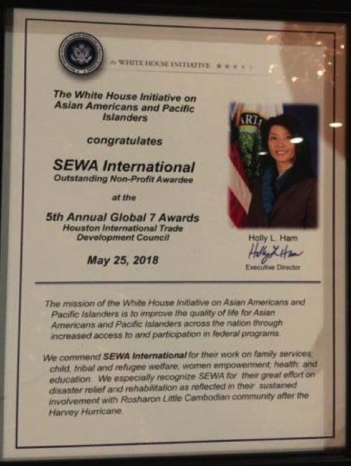 Sewa International was recognized with a certificate by the Office of the White House Initiative on Asian Americans and Pacific Islanders for its work in disaster relief and rehabilitation, and for the sustained involvement with Rosharon's Little Cambodian community.