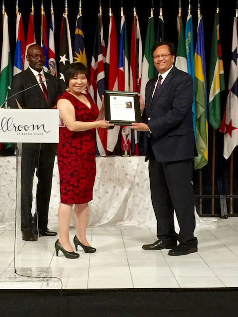 Sewa President Gitesh Desai (right) receiving the award for the most outstanding nonprofit of the year.