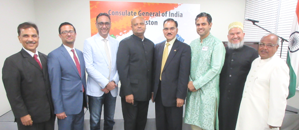 The speakers at the IMAGH's iftar at the Indian Consulate, from left, Ken Mathew, Murad Ajani, Arshad Matin, the Indian Consul General Anupam Ray, Sunny Sharma, Sri Preston Kulkarni, Abeezar Tyebji and organizer Latafath Hussain. Indian Deputy Consul Surendra Adhana is not pictured.