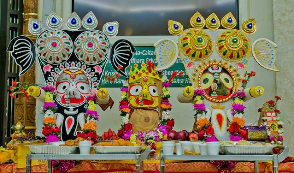 Deities in Gaja Vesha after the bathing ceremony. Photos: Thejas K.R.