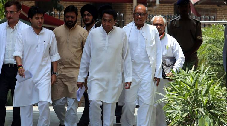 PCC president Madhya Pradesh &Congress senior Leader Kamal nath and others after meet Election commissioner at Nirvachan Bhawan in New Delhi on Sunday express photo by Prem Nath Pandey