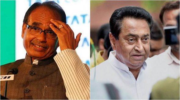 Madhya Pradesh CM Shivraj Singh Chouhan (left), state Congress president Kamal Nath