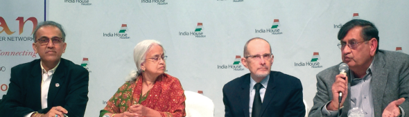 """Panelists at the Oct. 29 """"Loss of a Spouse"""" seminar included CPA and IACCGH President Swapan Dhairyawan (left), IACAN President Kumari Susarla, Andrew Hardwick with the Social Security Administration, and SOS Founder Ranvir """"Biki"""" Mohindra."""