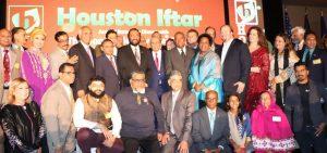 Houston Iftar 2018 organizing Committee members with Mayor Sylvester Turner, Congressman Al Green, Congresswoman Sheila Jackson Lee, Patron S. Javaid Anwar, President ICNA Javaid Siddiqui, President ISGH M. J. Khan, Coordinator Saeed Sheikh & others.