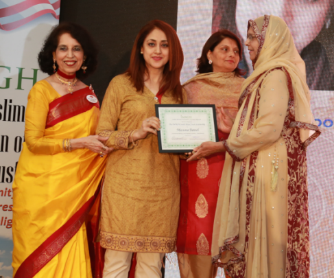 Masooma Batool was one of three students who received scholarships from Rahat Kale (left) and Neeta Sane (center).
