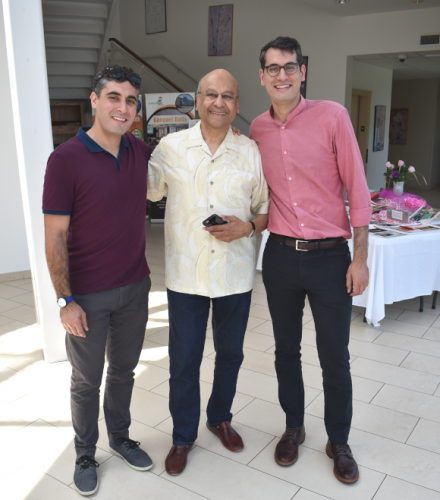 Mama's grandsons Sanjay Stefan (left) and Jeremy Gyan (right) greeted guest Ajay Shah at the entrance to India House where the party was held on Sunday, July 22, mama's actual birthdate.