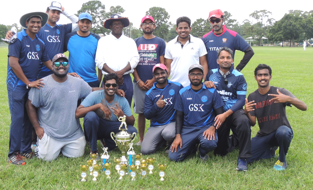 Winners Genx with umpires of the game, Tony and Kushal.