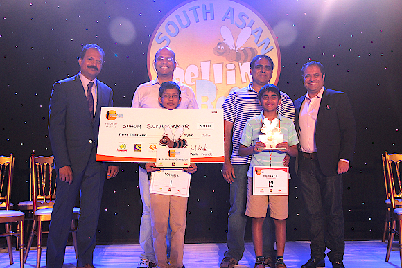 From left: Jaideep Janakiram, Head of North America, Sony Entertainment Television-Asia,Sohum Sukhatankar (National Champion) and Father,Abhijay Kodali(National First Runner Up) and Father, andRahul Walia, Founder of South Asian Spelling Bee.
