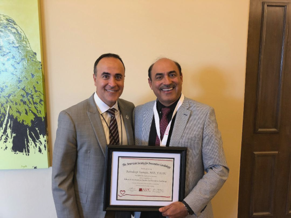 Dr. Suneja with Dr. Amit Khera, President, American Society of Preventive Cardiology.