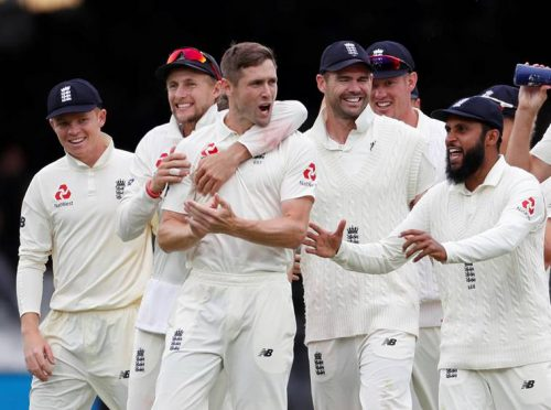 Chris Woakes took the final wicket of the day and had earlier ended unbeaten on 137 in England's innings. (Source: Reuters)