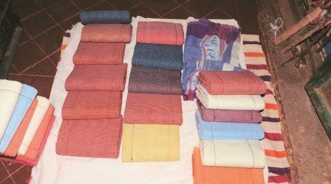Patteda anchu saris on display