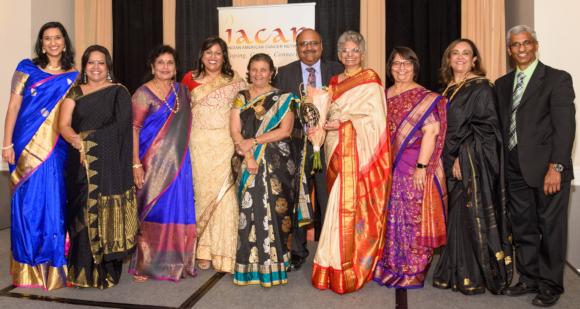 IACAN Board Members with the Gala Emcee and Gala Chair at the biennial gala on Saturday, September 8, at the Red Oak Ballroom-City Centre. From left: Anasuya Kabad (emcee), Monalisa Chandra, Raju Nandagiri, Arlene Thomas (IACAN President), Vibhuti Shah, Sarvesh Bhavaraju, Kanchan Kabad (Gala Chair), Dipika Varia, Ashma Moosa, and Dr. Jagan Sastry.