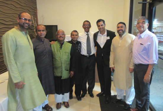 Democartic candidate for Congressional District 22 Sri Preston Kulkarni made a brief appearance and posed with IMAGH directors and co-founder Latafath Hussain (third from left)