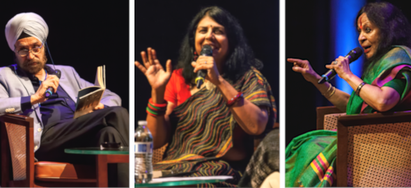 Other notable authors on stage at JLF Houston included Ambassador Navtej Sarna (left), Houston's Chitra Divakaruni and Sonal Mansingh. Photo: Chris Dunn.