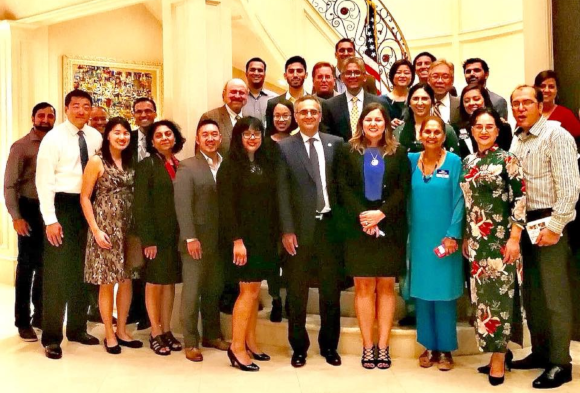 the candidates mixed with guests and supporters at the home of Dr. Kamila & Nomi Husain in Piney Point.