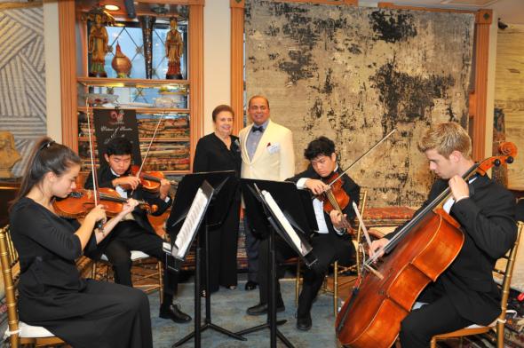 Virtuosi Quartet with Sam Abraham and Houston Symphony Board Member Helen Schaffer.