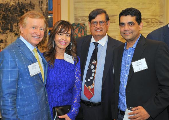 Houston Symphony's Jesse Tudor with Hiru Mathur, SOS Founder Biki Mohindra and Sumit Mathur.