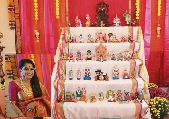 Sandhya Ayyar with her golu display.
