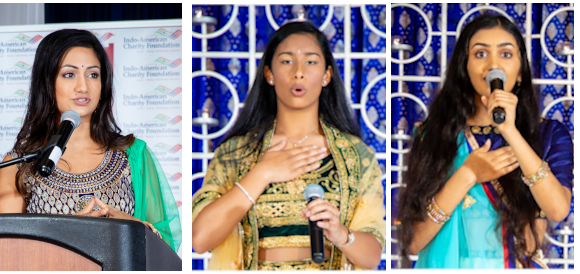 From left: Emcee Rashi Vats, News Anchor & Reporter FOX 26 News, Chloe Choudhury, and Milinda Nutalapati.