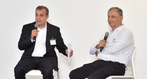 Pratham Houston Advisory Board member Dhiren Shethia (left) and Pratham Co-Founder Dr. Madhav Chavan on Thursday, October 4, at the BBVA Compass Plaza in the Galleria area.