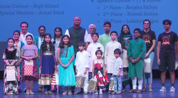 Award Winners of Mahatma Gandhi Week-2018 contests with Dr. Anupam Ray.  Photo: Kumaresh Tahkku