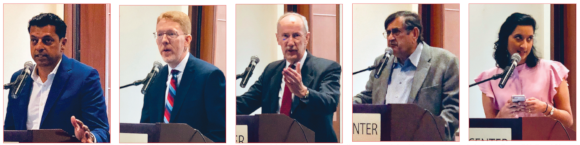 """Sharing the podium at the """"Life After: Demystifying Estate Planning"""" seminar were AJ John, who served as the emcee; estate planning and probate lawyers Russell Hall and Steven Mendel, SOS founder Biki Mohindra, and Anasuya Kabad, a certified financial planner with JayKay Wealth Advisors, who managed the Q&A session."""