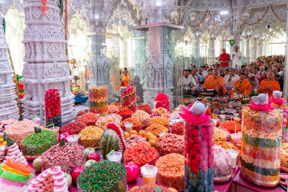 Devotees celebrate with Annakut during the Hindu New Year