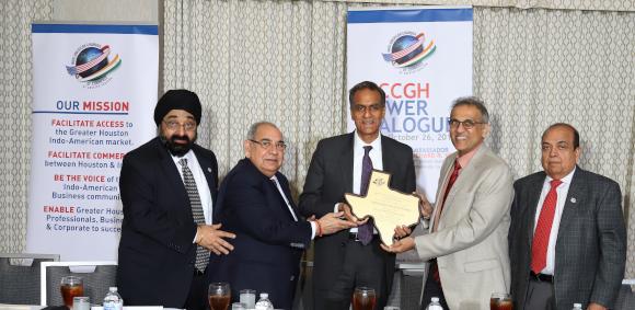 Executive Director Jagdip Ahluwalia (left), Brask Inc President Bal Sareen, Ambassador Richard Verma, President Swapan Dhairyawan, and Past President Ashok Garg. Photos: Paresh Shah